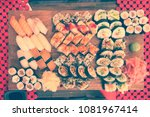 sushi board with variety... | Shutterstock . vector #1081967414