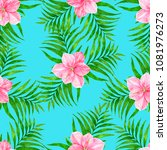 seamless pattern with palm... | Shutterstock . vector #1081976273