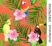 seamless tropical background...   Shutterstock . vector #1081982426
