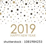 2019 happy new year. card for... | Shutterstock .eps vector #1081984253