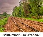 railway tracks going off in the ... | Shutterstock . vector #1081986509