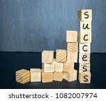 ladder made of wooden cubes... | Shutterstock . vector #1082007974