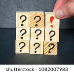wooden cubes with drawn... | Shutterstock . vector #1082007983