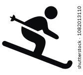 Skier  Black Vector Icon