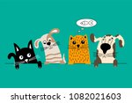 funny dog and cute cat best... | Shutterstock .eps vector #1082021603