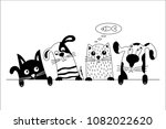 funny dog and cute cat best... | Shutterstock .eps vector #1082022620