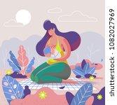 mother breastfeeding her child... | Shutterstock .eps vector #1082027969