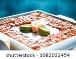 seared yellow fin tuna arranged ... | Shutterstock . vector #1082032454
