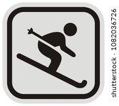 Skier  Button  Vector Icon ...