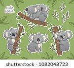 cartoon gray koala in differet... | Shutterstock .eps vector #1082048723