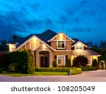 big luxury house at dusk  night ... | Shutterstock . vector #108205049