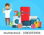 the guy jumps with joy after... | Shutterstock .eps vector #1082053406