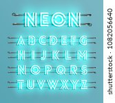 realistic neon font with wires... | Shutterstock .eps vector #1082056640