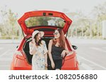 happy asian girl best friends... | Shutterstock . vector #1082056880
