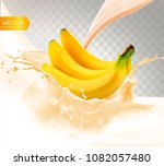banana juice. fresh fruit and... | Shutterstock .eps vector #1082057480