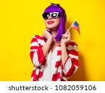 young girl with purple hair...   Shutterstock . vector #1082059106