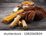 whole grain products with... | Shutterstock . vector #1082060834