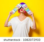 young girl with pink hair in...   Shutterstock . vector #1082072933