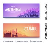 amsterdam and istanbul famous...   Shutterstock .eps vector #1082073359