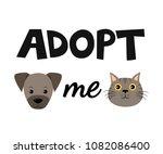 vector flat cartoon dog and cat ... | Shutterstock .eps vector #1082086400