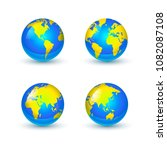 bright glossy earth globes... | Shutterstock . vector #1082087108