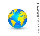 bright earth globe isolated on... | Shutterstock . vector #1082087114