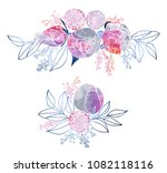 watercolor roses and mimosa... | Shutterstock . vector #1082118116