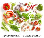 various fresh vegetables... | Shutterstock . vector #1082119250
