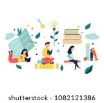 studying concept with bright... | Shutterstock .eps vector #1082121386