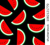 watermelons pattern. vector... | Shutterstock .eps vector #1082121770