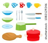 cartoon kitchen tools set... | Shutterstock .eps vector #1082129246