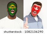 emotional soccer fans with... | Shutterstock . vector #1082136290