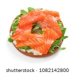 top view of single bagel... | Shutterstock . vector #1082142800