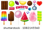 sweet candies set. swirl... | Shutterstock .eps vector #1082145560