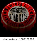 new york motorcycle tee print... | Shutterstock .eps vector #1082152220