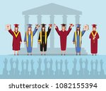 group of students graduated... | Shutterstock .eps vector #1082155394