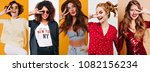 winsome short haired girl in... | Shutterstock . vector #1082156234