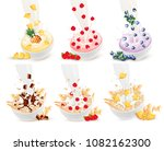 set of milk flowing into a bowl ... | Shutterstock .eps vector #1082162300