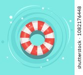 life buoy floating in swimming... | Shutterstock .eps vector #1082176448