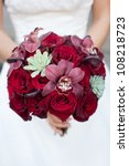 Stock photo bridal bouquet with red roses 108218723