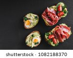 various of sandwiches and... | Shutterstock . vector #1082188370