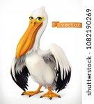 Funny pelican. 3d vector icon