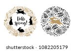 Stock vector hello spring silhouette of a rabbit in the flower circle and wreath calligraphy card hand drawn 1082205179