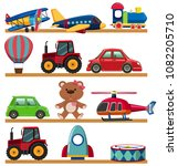 young children toy on shelf... | Shutterstock .eps vector #1082205710