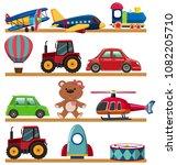 young children toy on shelf... | Shutterstock .eps vector #1082205710