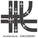plane traffic on runway on... | Shutterstock .eps vector #1082208083