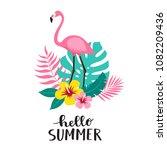flamingo bird with exotic... | Shutterstock .eps vector #1082209436