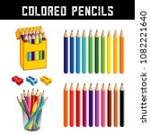 colored pencils in twenty... | Shutterstock .eps vector #1082221640