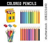 colored pencils in twenty... | Shutterstock .eps vector #1082221640