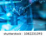 rows of coin and graph of stock ... | Shutterstock . vector #1082231393